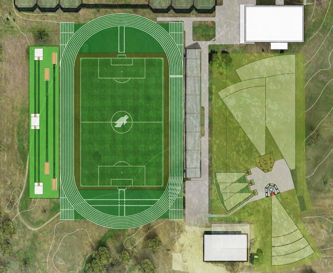Layout of the North Texas Soccer and Track & Field Stadium